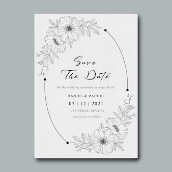 Wedding invitation template with flower bouquet sketch frame
