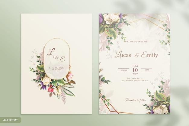 葉と結婚式の招待状のテンプレート