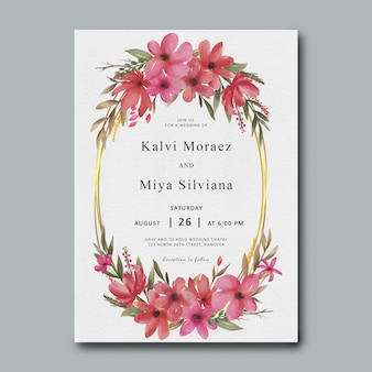 Wedding invitation template with gold frame and watercolor flowers