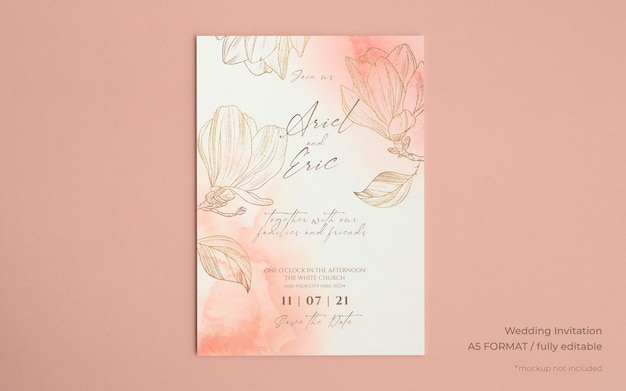 Wedding invitation template with golden magnolias