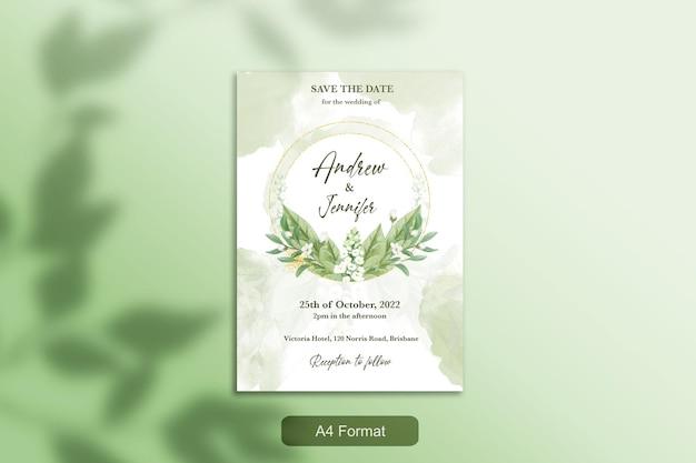 緑の花と結婚式の招待状のテンプレート