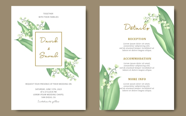 Wedding invitation template with lily of the valley