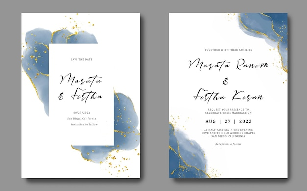 Wedding invitation template with nevy color watercolor brush background and gold ornament