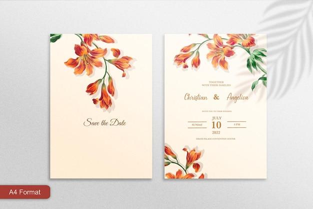 オレンジ色の花と結婚式の招待状のテンプレート