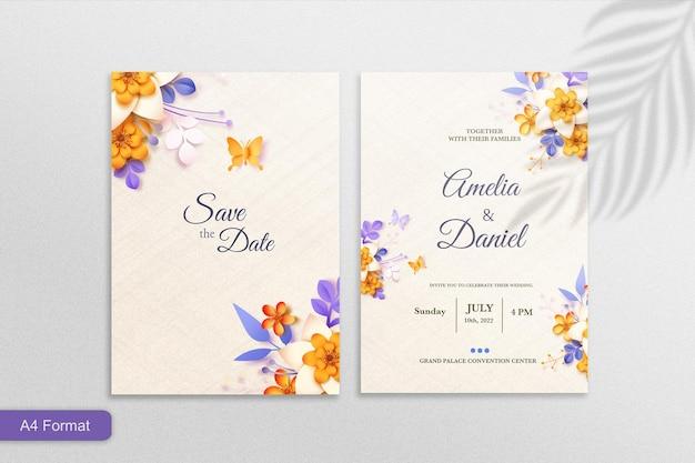 紙のスタイルの花と結婚式の招待状のテンプレート