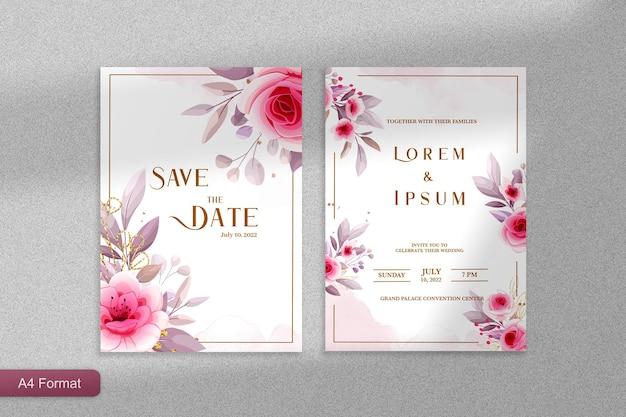 Шаблон приглашения на свадьбу с розовым цветком