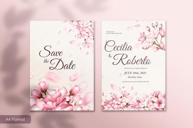 ピンクの桜の花と結婚式の招待状のテンプレート