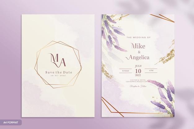 紫色の花の結婚式の招待状のテンプレート