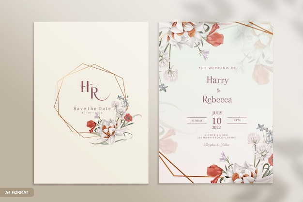 赤い花の結婚式の招待状のテンプレート