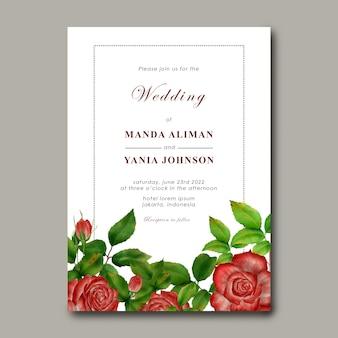 バラの花の装飾と結婚式の招待状のテンプレート