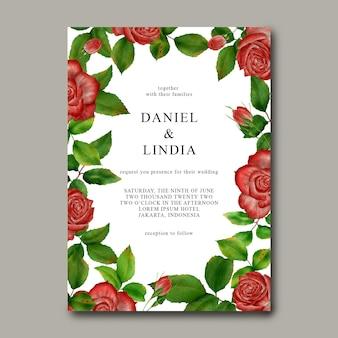 バラの花のフレームと結婚式の招待状のテンプレート