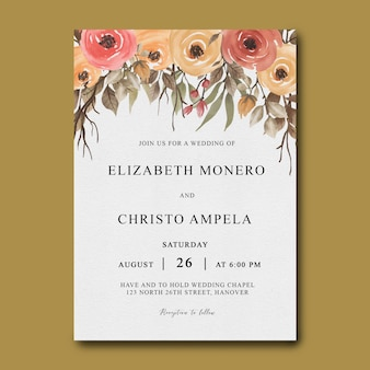 Wedding invitation template with roses and leaves frame