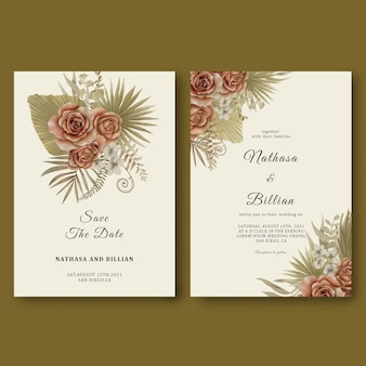 Wedding invitation template with tropical leaf decorations and watercolor roses