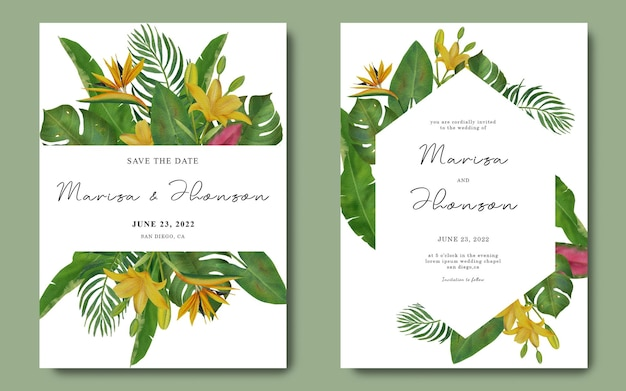 Wedding invitation template with tropical leaves and watercolor tropical flowers decorations