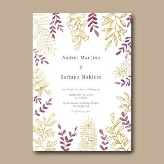 수채화와 금 잎 결혼식 초대장 서식 파일
