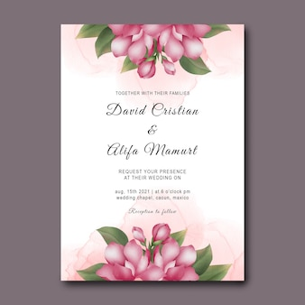 Wedding invitation template with watercolor cherry blossoms