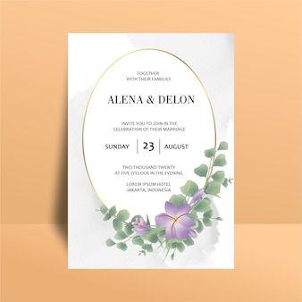Wedding invitation template with watercolor eucalyptus leaf decorations