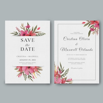 Wedding invitation template with watercolor floral decorations