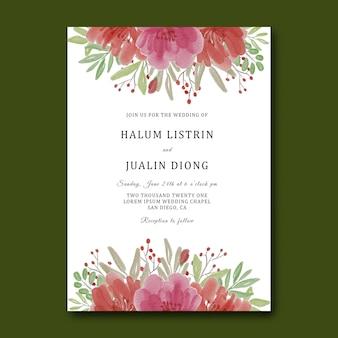 Шаблон свадебного приглашения с акварельным цветочным букетом