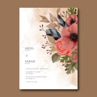水彩フラワーブーケと結婚式の招待状のテンプレート