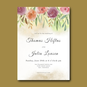 Wedding invitation template with watercolor flower bouquet