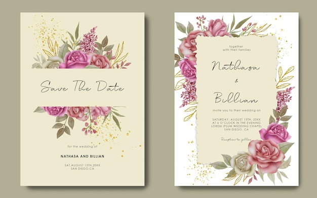 Wedding invitation template with watercolor flower decoration