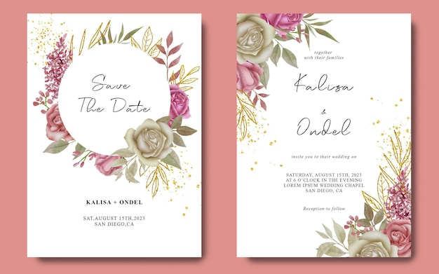 Wedding invitation template with watercolor flower frame