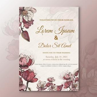 水彩花と結婚式の招待状のテンプレート