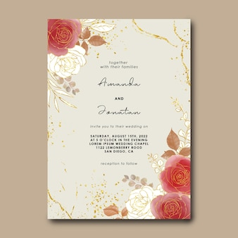 Wedding invitation template with watercolor flowers and gold background