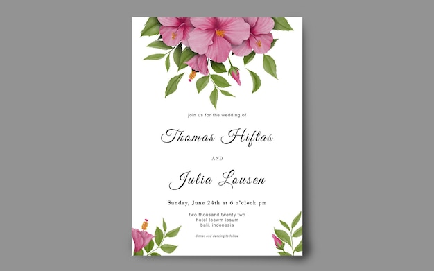 水彩ハイビスカスフレームと結婚式の招待状のテンプレート