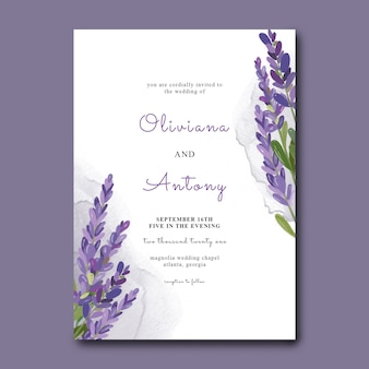 Wedding invitation template with watercolor lavender flowers