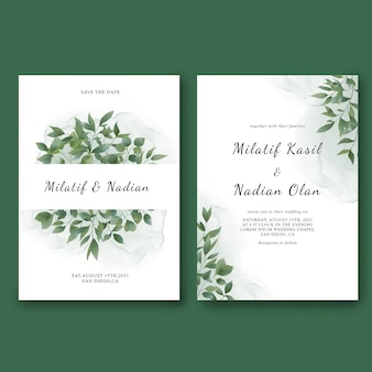 Wedding invitation template with watercolor leaf decorations