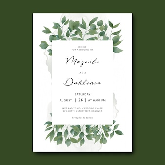 Wedding invitation template with watercolor leaf foliage frame