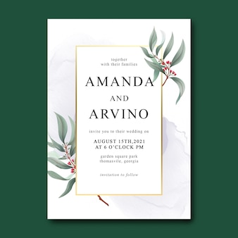 Шаблон свадебного приглашения с акварельными листьями и золотой каймой