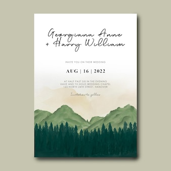 Wedding invitation template with watercolor mountain scenery background