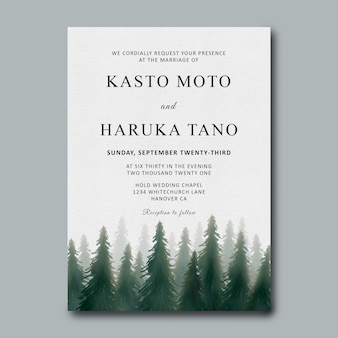 Wedding invitation template with watercolor pine forest