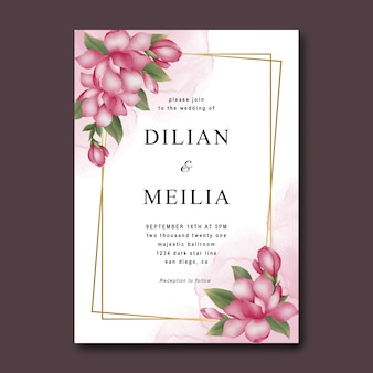 水彩ピンクの花と結婚式の招待状のテンプレート