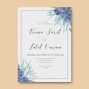 Wedding invitation template with watercolor purple leaves and roses