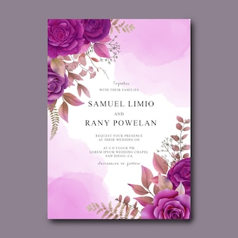 Wedding invitation template with watercolor purple roses