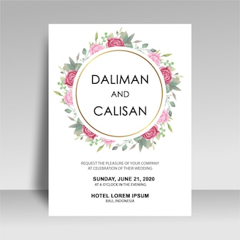 Wedding invitation template with watercolor rose decorations