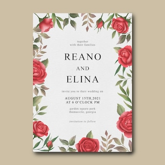 Wedding invitation template with watercolor rose flower frame
