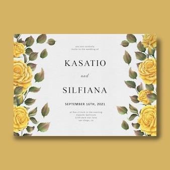 水彩のバラの花のフレームと結婚式の招待状のテンプレート