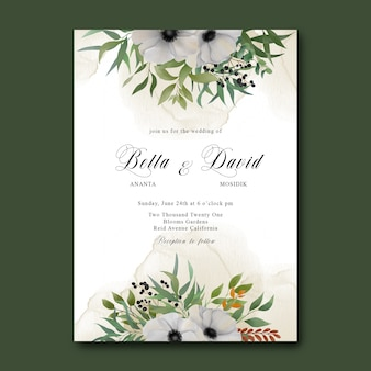 Wedding invitation template with watercolor white flower bouquet
