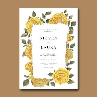 Шаблон свадебного приглашения с акварельным оформлением букета желтых роз