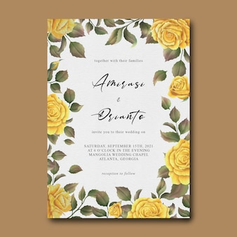 Wedding invitation template with watercolor yellow rose flower frame