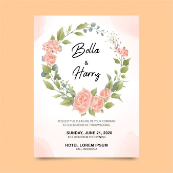 Wedding invitation templates with beautiful watercolor roses