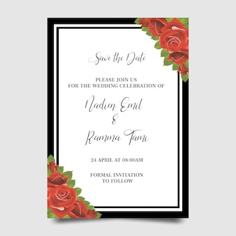 Wedding invitation templates with flower frames