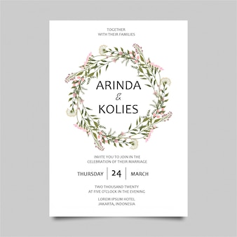 Wedding invitation templates with flowers and leaves