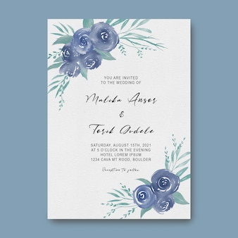 Wedding invitation templates with watercolor leaves and flowers