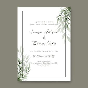 Wedding invitation templates with watercolor style leaf frames